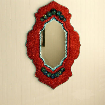 Large Beaded Glittery Copper and Turquoise Wall Mirror - Free Shipping