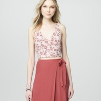 Cape Juby Floral Cropped Bodycon Wrap Tank -