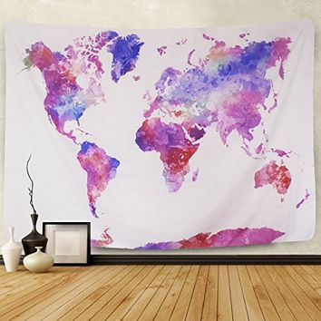 "Watercolor World Map Tapestry Wall Hanging For Living Room Bedroom Dorm Home Decor (51.2""X59.1"", Multicolor)"