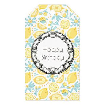 Yellow Lemons & Blue Flowers Happy Birthday Gift Tags