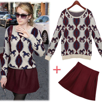 Long Sleeve Animal Printed Sweater With Pleated Mini Skirt