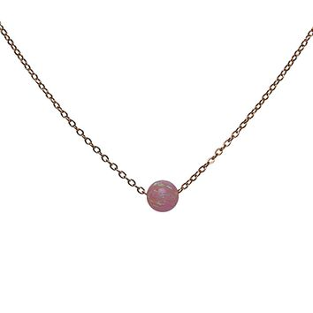 Millennial Blush Pink Opal Bead Necklace