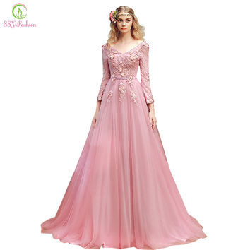 SSYFashion New Evening Dress Bride Sweet Pink Lace Flower Long-sleeevd Appliques V-neck Sweep Train Long Prom Dresses Party Gown