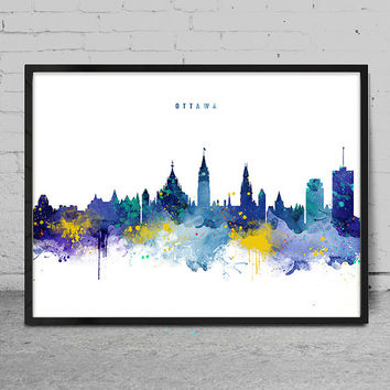 Ottawa Skyline, Ottawa Canada Cityscape, Watercolor Painting, Wall Art Poster, Cityscape, City Wall art, Artwork, Canada PosterDecor -x139