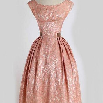 Pink Side Pleat Vintage Style Dress - Also in Plus Sizes