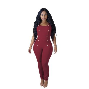 Rompers Women's Jumpsuit Long Pants White Black Color for High Quality Romper with Button Design