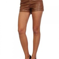 Brown Faux Leather Shorts with 2 Front Pockets