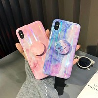 Marble look case and matching pull up holder grip for iPhone