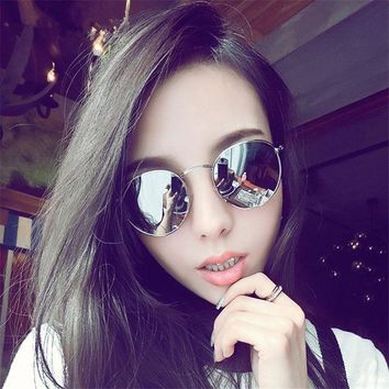 ESBU3C 2017 New Cat Eye Aviator Sunglasses Women Vintage Fashion Metal Frame Mirror Sun Glasses Unique Flat Ladies Sunglasses