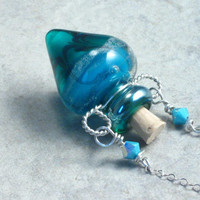 Mermaid --- Lampwork Poison Bottle Necklace
