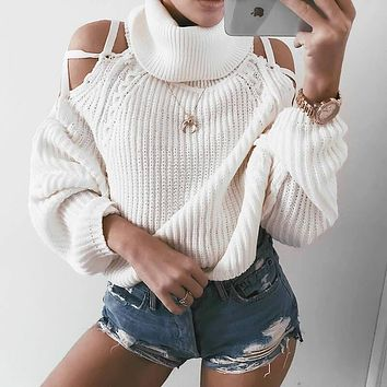 Turtleneck Lace Up Cold Shoulder Pullover Sweater