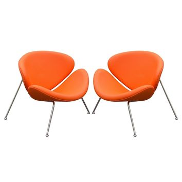 Set of (2) Roxy Orange Accent Chair with Chrome Frame