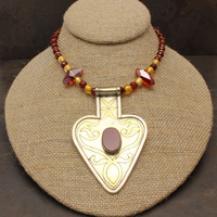 FREE SHIPPING - Afghanistan, Brass, Tin, Metal, Swarovski, Vermeil, Gold, Carnelian, Red, Venetian Glass, Pendant, Necklace, One of a Kind