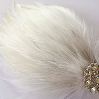 Great Gatsby Headpiece - Women's Flapper Headpiece - Bridal Feather Headpiece - White Feather Flapper Head Piece - Gatsby Wedding Bartette -