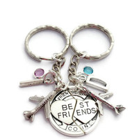 Best Friends Keyrings, Travel Buddies, Custom Birthstone Keychain, Long Distance Friendship, BFF Gift, Set of 2, Sisters Birthday, Initials