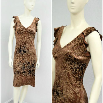 Vintage 90s Brown and Gold Crushed Velvet Dress, Tie Dye Dress, Flutter Sleeve, Short Party Dress, Empire Waist, Fitted Dress, Size S
