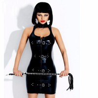 Wonder Beauty Latex Rubber Buckle Dress Keyhole Bust Zipper Black PVC Sexy Faux Leather Cupless Vinyl Club Mini Dress W377709