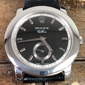 Rolex Cellini 5241 Platinum 38mm Watch Leather Strap Pre Owned