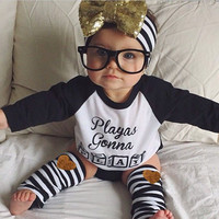 Newborn Baby Boys Girls Toddler Kids T-shirt Striped Stockings Outfit Baby Clothes Sets