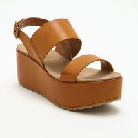 TAN LEATHERETTE STRAP WEDGES