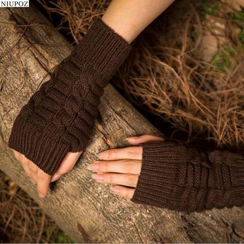 Pretty Stylish Gloves Women Female Stretch Knit Gloves Hot Winter Warm Arm Crochet Knitting warm Fingerless Gloves G6