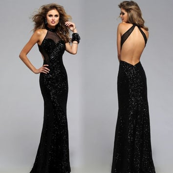 2017 Sexy Black Long Formal Evening Dress Halter Neck Sleeveless Sequined Open Back Floor-Length Mermaid Prom Dresses