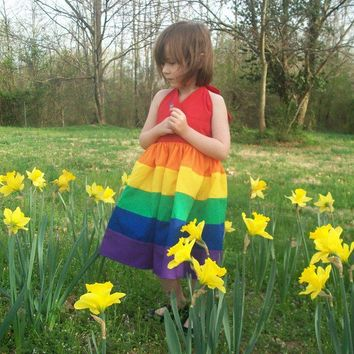 Rainbow Twirly Dress Sizes 8 10 12 and 14 by mapletree2000 on Etsy