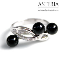 Lace ring - Black Stone ring - Agate ring - Silver agate ring - Sterling Silver ring  - Modern Silver ring