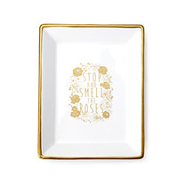 FOREVER 21 Ceramic Roses Jewelry Dish Gold/Cream One