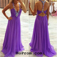Purple Prom Dresses Chiffon Backless Prom Dresses Evening Gown