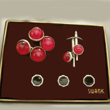 Vintage Swank 40s Cufflinks and Studs - 1940s Rare Cuff Link Set - New in Box