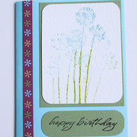 Watercolor Birthday Card, Handmade Blue and Green Notecard With Stamped Watercolor Image of Blue Agapanthus, Happy Birthday, Watercolor Card