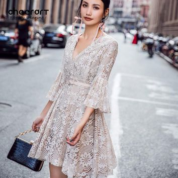 Cheerart Fall 2017 Fashion V Neck Lace Dress Women Flare Sleeve Robe Sexy Beige  utumn Korean Ladies Dresses With Belt