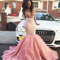 customise pink mermaid prom dresses long sleeve backless prom evening party dress for graduation sexy mermaid african prom dress