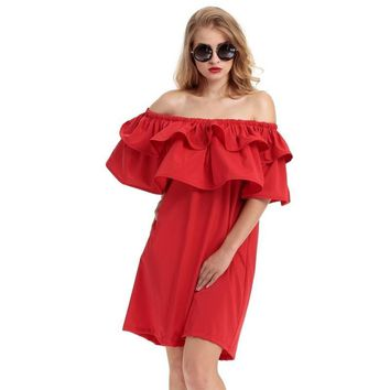 PLT Off the Shoulder Double Ruffle Party Dresses, Ruby