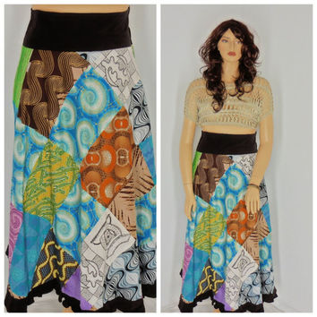 70's festival skirt, size 12/ 14, highwaisted, handmade patchwork maxi skirt. boho, hippie, gypsy