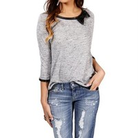 Gray Bow Pleather Top