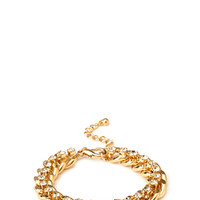 FOREVER 21 Pretty Tough Chain Bracelet Gold/Clear One