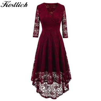 Kostlich 2018 Women Autumn Dress V-Neck 3/4 Sleeve Lace Hollow Sexy Evening Party Dresses Irregular Hepburn 1950s Vintage Dress