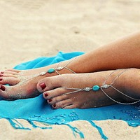 Barefoot Sandals - Boho Turquoise Anklet / Toe Ring Wrap - Pair