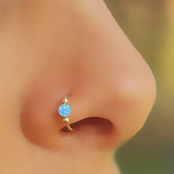 FAKE NOSE RING, Fake Piercing, Fake Ring Nose, Gold Filled, Blue, Opal Nose Ring