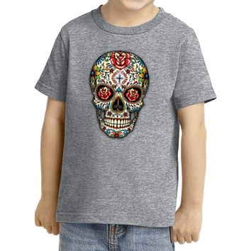 Kids Halloween T-shirt Sugar Skull with Roses Toddler Tee