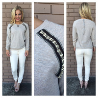 Mocha Crystal & Bead Sweater Top