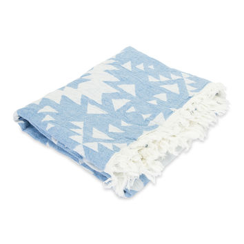 Luxe Ikat Bath Towel- Blue