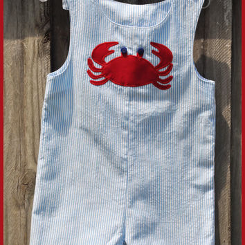 Boys Crab Seersucker Jon Jon Shortall Beach Summer Vacation Holiday Boutique Custom Maddie Kate