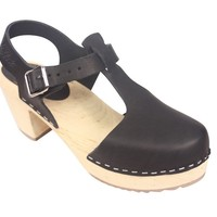 Lotta From Stockholm High heel T-Bar Closed Toe Clogs in Black Leather