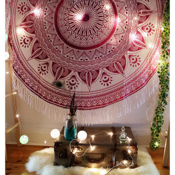 Roundie Mandala Tapestry Gypsy Beach Throw / Hippie Wall Hanging