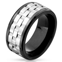 Rebel Spinner - FINAL SALE Black Three Part Gear Stainless Steel Ring