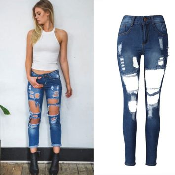 Women High Waist Cowboy Trousers