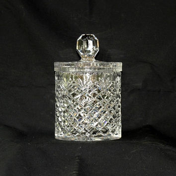Vintage Biscuit Jar Heavy Crystal | Diamond Design | Cookie Jar | Biscuit Barrel | Unmarked